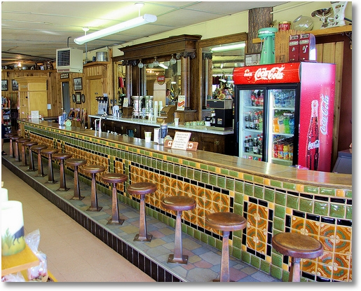 Beautiful old fashioned lunch counter, West Yellowstone, Montana