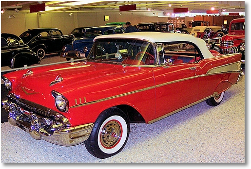 red 57 chevy convertible;  Museum of Automobiles near Petit Jean Sate Park, Arkansas