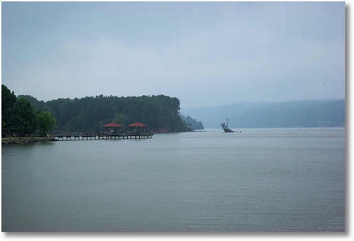 Lake Dardanelle State Park, on a rainy, foggy summer day in Arkansas