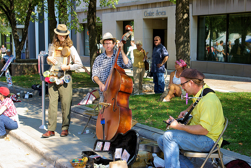 Music at the farmers market, Wisconsin State Capitol, Madison, Wisconsin