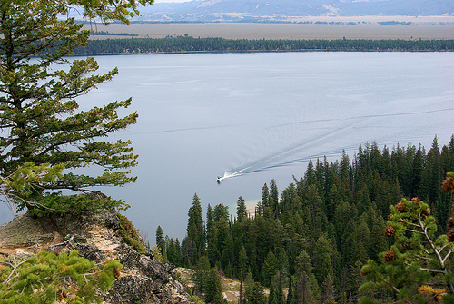 Boat in picture is the hiker shuttle boat; Grand Teton National Park, August 20, 2007
