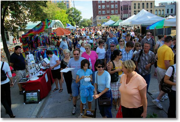 crowded at dane county farmers market on the square