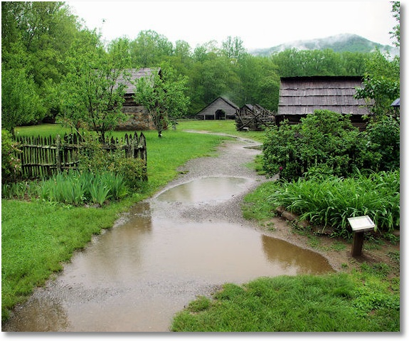 Rainy Day at Mountain Farm Museum, Great Smoky Mountains, National Park, North Carolina, near Cherokee 5-6-2009