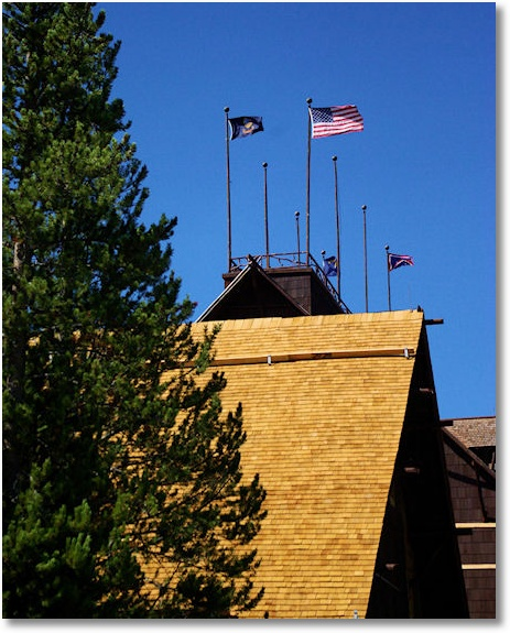 rooflines and flags, Old Faithful Inn, Yellowstone National Park 9-12-07