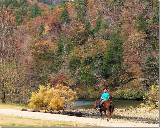 Rider along the river, Buffalo National River, 2005