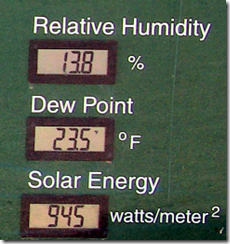 Relative humidity. dew point, and solar energy on the Idaho national laboratory