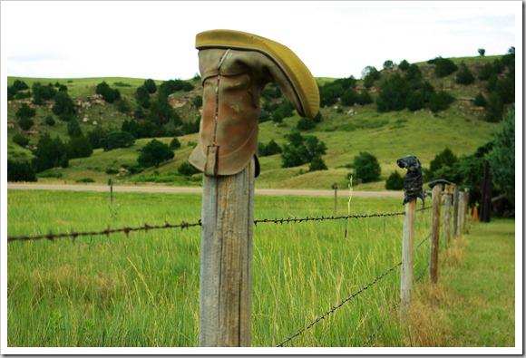 boots on fence posts near Ash Hollow in western Nebraska