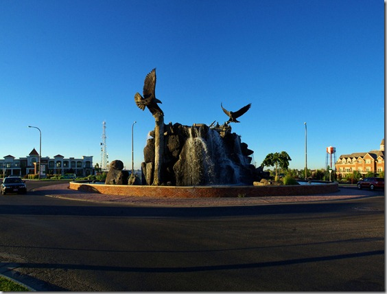 A roundabout fountain and sculpture in Idaho Falls, Idaho