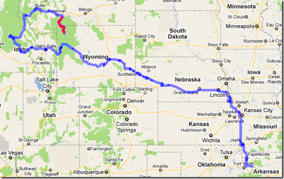 Our route through August 4, 2010