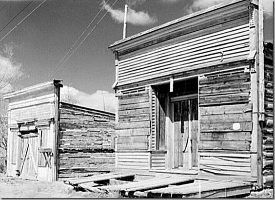 Drug Store and Assay Office in Bannack, Montana - one of the early mining camps of Montana, and the first capitol of the state .  Photo by John Vachon, April 1942