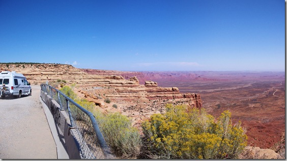 The Moki Dugway  is a series of steep switchbacks down a greval road from the top of Cedar Mesa over less than 3 miles.