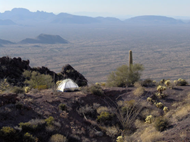 Image of a backcountry camp spot with a wonderful view from the Ajo Range. Backcountry; Organ Pipe Cactus National Monument