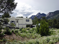 Fifth wheel trailer; City of Rocks National Reserve, Smokey Mountain Campground, part of Castle Rocks State Park.