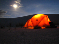 Camping under a full moon; Backpacking; White Sands National Monument