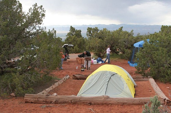 Camping at the Colorado National Monument; 34 degrees, raining and windy; views were amazing.