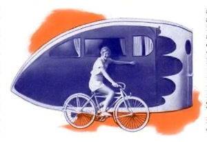 "A ""teardrop"" trailer designed to accomodate two persons."
