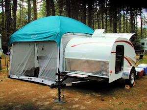 teardrop camper with a screen tent